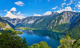 Panoramic view on Austrian mountains Alps lake Hallstattersee