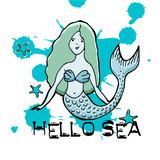 Hand drawn mermaid. Vector illustration. Text Hello Sea.