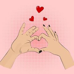 Romance gesture sign. Vector pop art style women men hands showing love. Romantic greeting wedding, dating symbolic. Partnership heart lifestyle concept