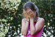 Leinwanddruck Bild - Mädchen weint