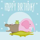 Happy birthday cute animal card