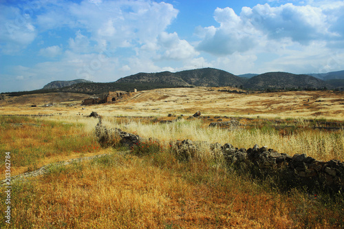 Foto Murales Ancient theater in Hierapolis, front of view, Turkey,Pamukkale