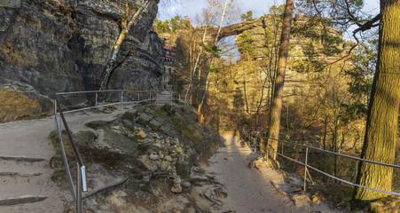 View of the Prebischtor Gate, Bohemian Switzerland, Czech Republic