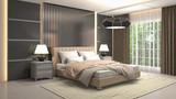 Bedroom interior. 3d illustration - 213364592