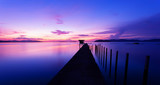 old small jetty in to the sea in Long exposure image of dramatic sunset or sunrise,sky and clouds over tropical sea scenery landscape. - 213365310