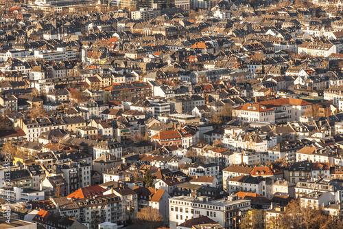 Obraz na płótnie aerial of Frankfurt am Main with red roofs