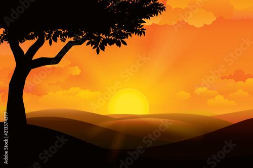 Fotobehang Zwart Sunset on the horizon over the mountain landscape. Vector illustration