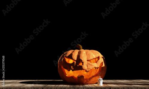 Halloween dynia na drewnianych desek 3d-ilustracji