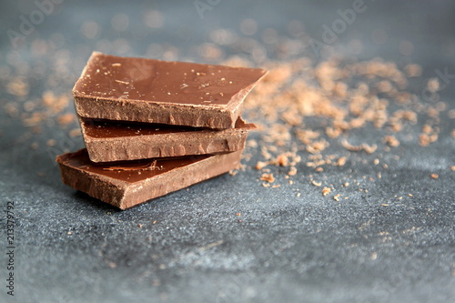Black chocolate on dark background, close-up