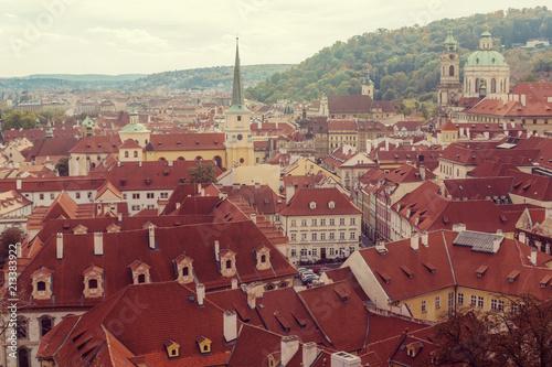 Foto Spatwand Bordeaux Prague, Czezh Republic. Scenic autumn aerial view of the Old Town