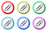 Paperclip web vector icons, set of colorful flat round design editable internet buttons webdesign and smartphone applications - 213386920