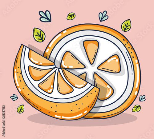 Pomarańczowy plasterki owoców kreskówek
