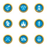 Medieval takeover icons set. Flat set of 9 medieval takeover vector icons for web isolated on white background - 213388183