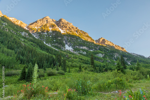Scenic Maroon Bells in Summer