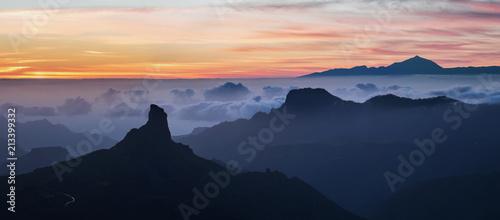 Panoramic view of Roque Bentayga mountain at the sunset