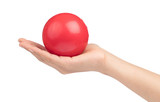 hand holding  Ball toy Isolated on White Background - 213408134
