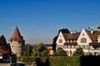 canvas print picture - Altstadt Zug mit Pulverturm an der Zugerbergstrasse, Schweiz