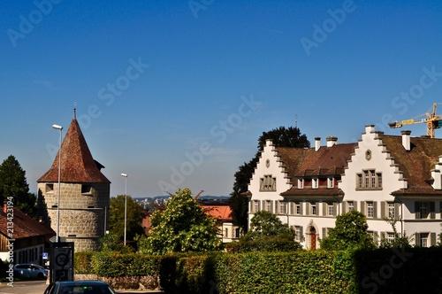 canvas print picture Altstadt Zug mit Pulverturm an der Zugerbergstrasse, Schweiz