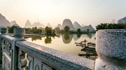 Fotobehang Guilin landscape the bridge Guilin lijiang river,Guangxi, China.
