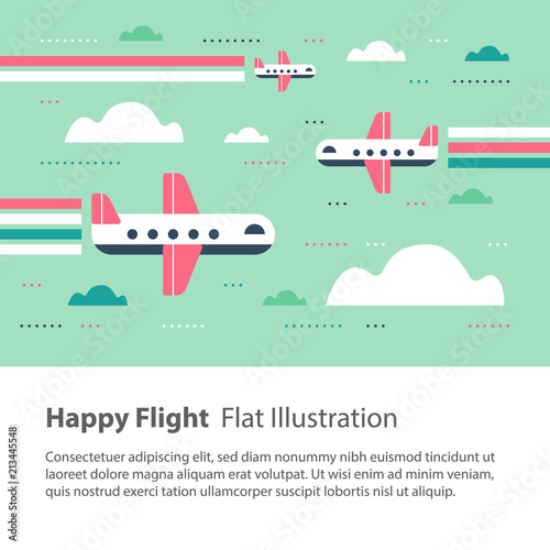 Fototapeta Airplanes in the sky, happy flight, flat illustration, flying aircraft with rainbow
