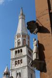 Modena, Bonissima statue and Ghirlandina, Piazza Grande square, Italy