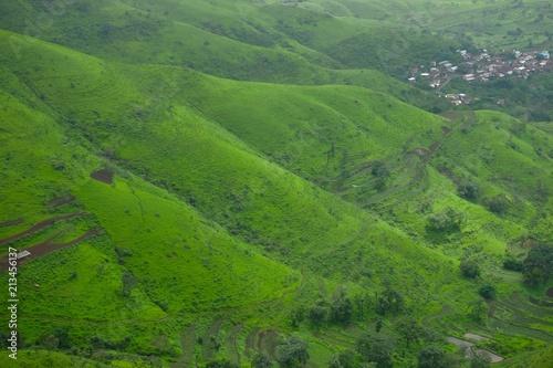 Fotobehang Groene Green landscape surrounded by hills, mountains in monsoon season