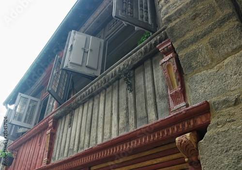 Fototapeta May 28, 2018 France, Dinan. Half-timbered houses in the old part of Dinan