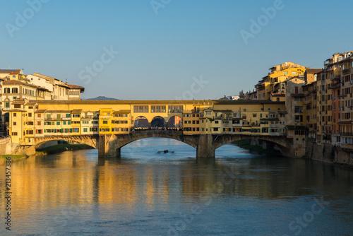 Ponte Vecchio Bridge over Arno river in Florence, Italy - 213457386