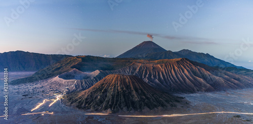 Panoramic Mount Bromo volcanic, famous travel destination and tourist attraction in Indonesia
