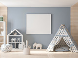 Poster frame mockup in kids room with plaining wigwam 3d rendering - 213461516