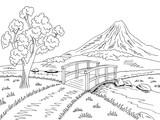 Mountain river bridge graphic black white landscape sketch illustration vector - 213465950