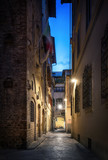 Beautiful street in Florence, Tuscany, Italy. Architecture and landmark of night Florence.