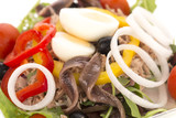 Mixed salad with tuna, anchovies and boiled eggs. - 213468326