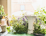 Home scene for making a summer bouquet for a living room with wild flowers and a vase on the table - 213470522