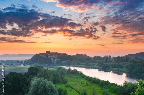 Fotobehang Krakau Beautiful colorful sunrise landscape, Tyniec near Krakow, Poland