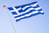Greek flag flying in the wind - 213474721