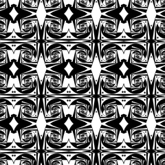 Seamless pattern silhouettes of an abstract spirals and stars with a Droste effect