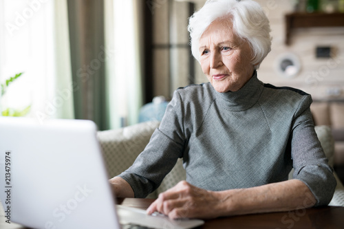 Naklejka Attractive senior woman with white hair sitting at the table and looking at computer