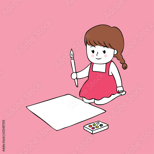 Cartoon cute little artist girl vector.