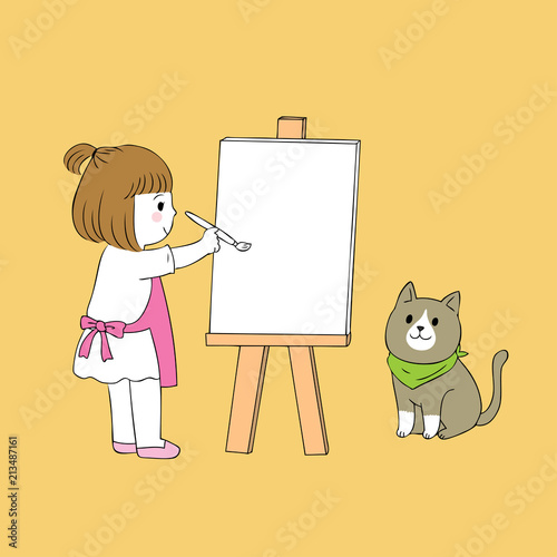 Cartoon cute little girl painting cat vector.