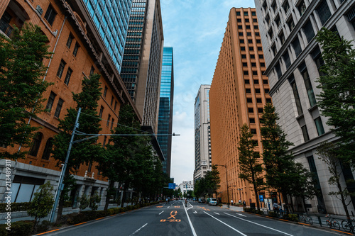 Fotobehang Tokio tokio straße und hochhäuser