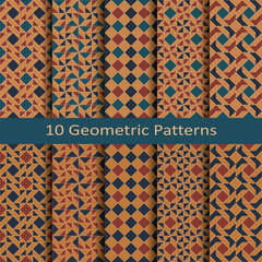 set of ten seamless vector geometric colorful patchwork  patterns. design for package, cover, textile © lenazol