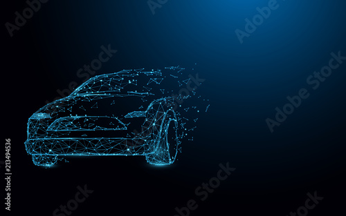Car form lines, triangles and particle style design. Illustration vector