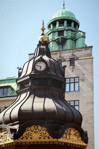 Foto Murales Copenhagen, Denmark - view of  antique building towers in city center with the green copper decorated cover characteristic of the city profile