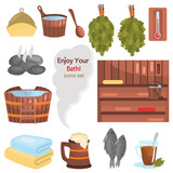 Russian bath color flat icons set for web and mobile design - 213506562
