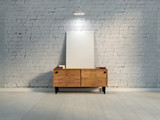 blank white poster on vintage commode - 213506913