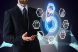 businessman and digital touchscreen - 213507124