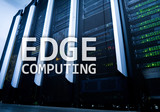 EDGE computing, internet and modern technology concept on modern server room background. - 213507134