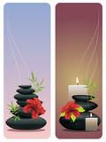 Flower and zen stones banner
