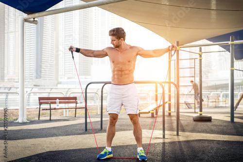 Fotobehang Fitness Athlete training outdoors